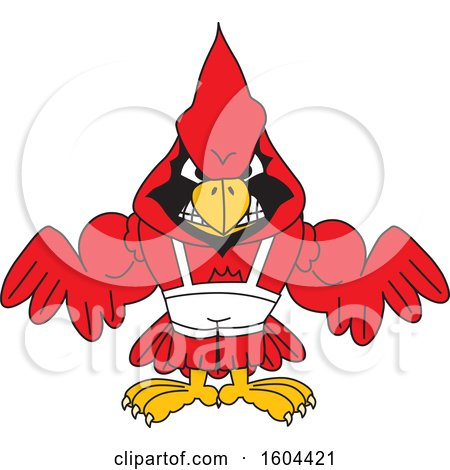Clipart of a Red Cardinal Bird School Mascot Character Wrestling - Royalty Free Vector Illustration by Toons4Biz