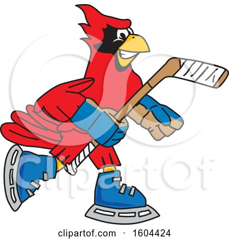 Clipart of a Red Cardinal Bird School Mascot Character Playing Ice Hockey - Royalty Free Vector Illustration by Toons4Biz
