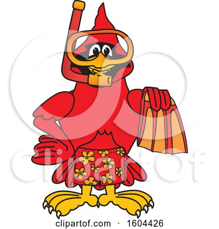 Clipart of a Red Cardinal Bird School Mascot Character in Scuba Gear - Royalty Free Vector Illustration by Toons4Biz