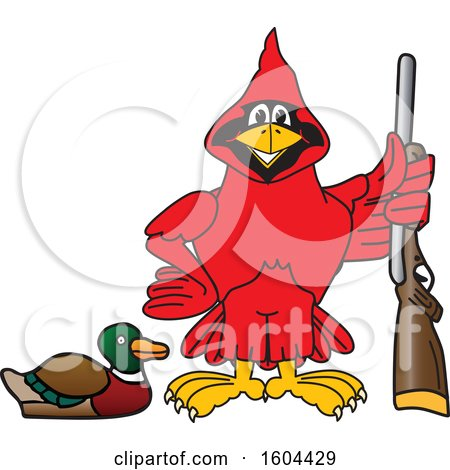 Clipart of a Red Cardinal Bird School Mascot Character Duck Hunting - Royalty Free Vector Illustration by Toons4Biz