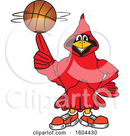 Clipart of a Red Cardinal Bird School Mascot Character Spinning a Basketball - Royalty Free Vector Illustration by Toons4Biz