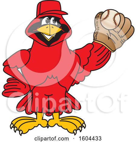 Clipart of a Red Cardinal Bird School Mascot Character Baseball Player - Royalty Free Vector Illustration by Toons4Biz