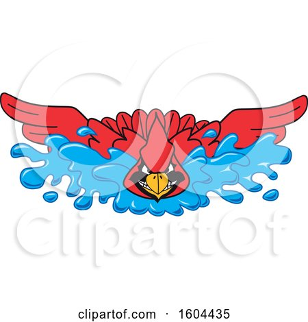 Clipart of a Red Cardinal Bird School Mascot Character Swimming - Royalty Free Vector Illustration by Toons4Biz