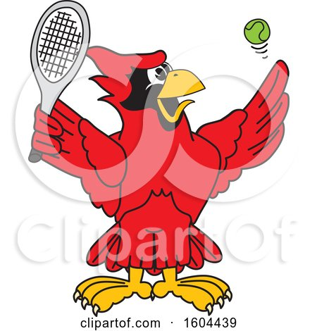Clipart of a Red Cardinal Bird School Mascot Character Playing Tennis - Royalty Free Vector Illustration by Toons4Biz