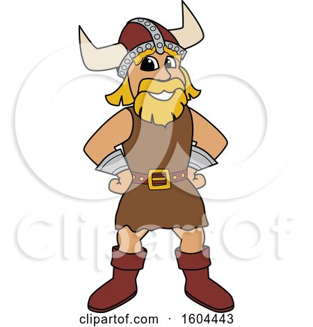 Clipart of a Male Viking School Mascot Character with Hands on His Hips - Royalty Free Vector Illustration by Toons4Biz