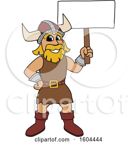 Clipart of a Male Viking School Mascot Character Holding a Blank Sign - Royalty Free Vector Illustration by Toons4Biz