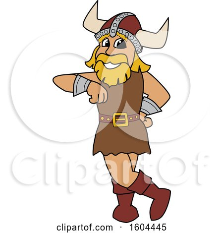 Clipart of a Male Viking School Mascot Character Leaning - Royalty Free Vector Illustration by Toons4Biz