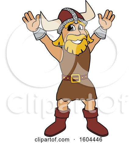 Clipart of a Male Viking School Mascot Character Welcoming - Royalty Free Vector Illustration by Toons4Biz