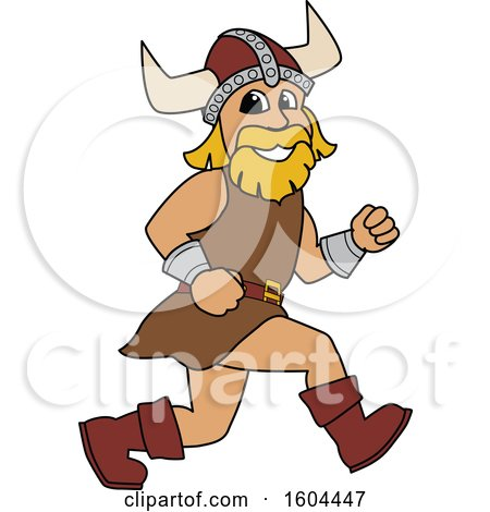 Clipart of a Male Viking School Mascot Character Running - Royalty Free Vector Illustration by Toons4Biz