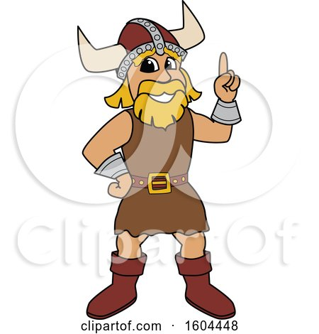 Clipart of a Male Viking School Mascot Character Holding up a Finger - Royalty Free Vector Illustration by Toons4Biz