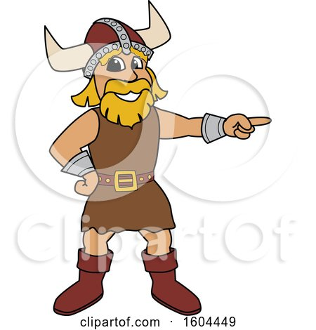 Clipart of a Male Viking School Mascot Character Pointing - Royalty Free Vector Illustration by Toons4Biz