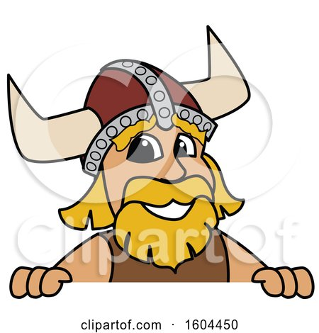 Clipart of a Male Viking School Mascot Character over a Sign - Royalty Free Vector Illustration by Toons4Biz