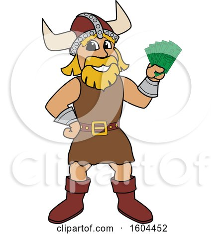 Clipart of a Male Viking School Mascot Character Holding Cash Money - Royalty Free Vector Illustration by Toons4Biz
