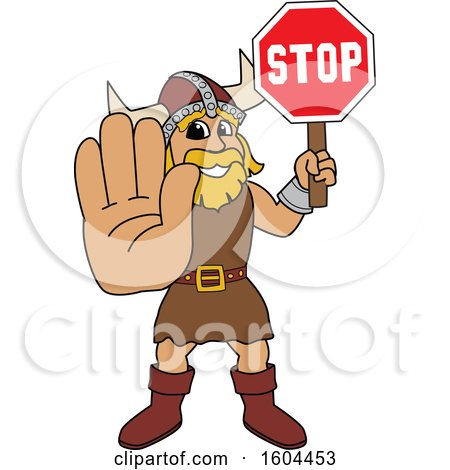 Clipart of a Male Viking School Mascot Character Holding a Stop Sign - Royalty Free Vector Illustration by Toons4Biz