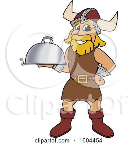 Clipart of a Male Viking School Mascot Character Holding a Platter - Royalty Free Vector Illustration by Toons4Biz