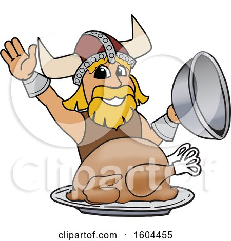 Clipart of a Male Viking School Mascot Character Serving a Thanksgiving Turkey - Royalty Free Vector Illustration by Toons4Biz