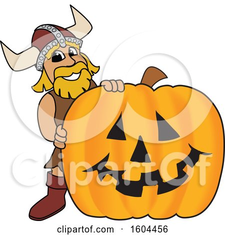 Clipart of a Male Viking School Mascot Character with a Halloween Pumpkin - Royalty Free Vector Illustration by Toons4Biz