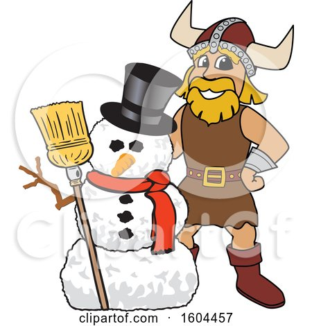 Clipart of a Male Viking School Mascot Character with a Christmas Snowman - Royalty Free Vector Illustration by Toons4Biz