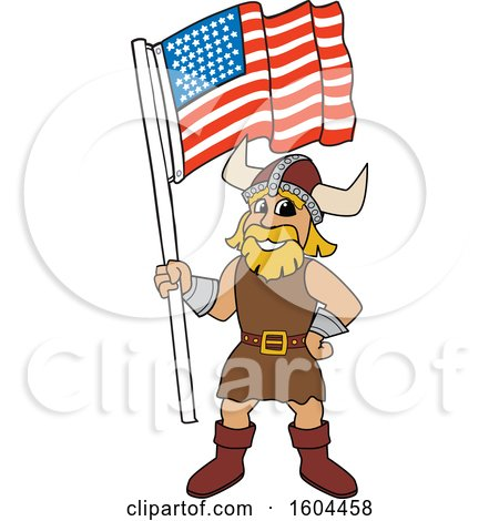 Clipart of a Male Viking School Mascot Character Holding an American Flag - Royalty Free Vector Illustration by Toons4Biz