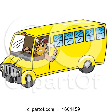 Clipart of a Male Viking School Mascot Character Driving a School Bus - Royalty Free Vector Illustration by Toons4Biz