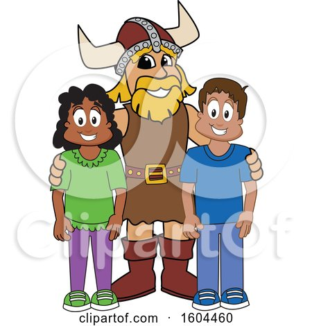 Clipart of a Male Viking School Mascot Character with Students - Royalty Free Vector Illustration by Toons4Biz
