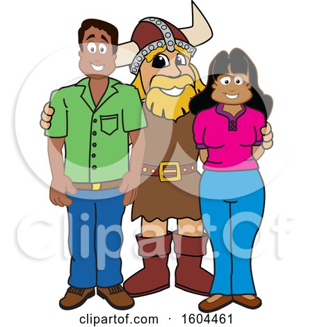 Clipart of a Male Viking School Mascot Character with Parents - Royalty Free Vector Illustration by Toons4Biz