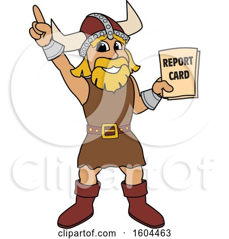Clipart of a Male Viking School Mascot Character Holding a Report Card - Royalty Free Vector Illustration by Toons4Biz