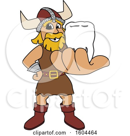 Clipart of a Male Viking School Mascot Character Holding out a Tooth - Royalty Free Vector Illustration by Toons4Biz