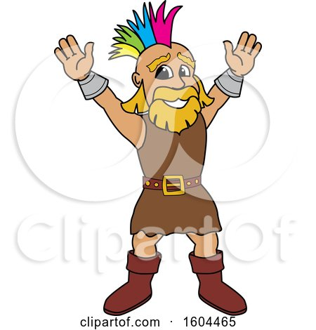 Clipart of a Male Viking School Mascot Character with a Mohawk - Royalty Free Vector Illustration by Toons4Biz