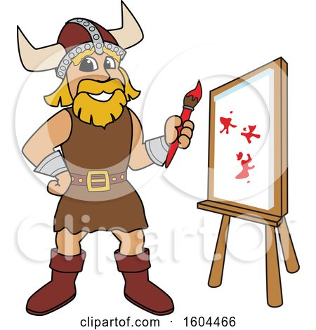 Clipart of a Male Viking School Mascot Character Painting a Canvas - Royalty Free Vector Illustration by Toons4Biz