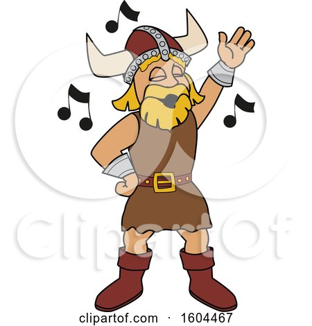 Clipart of a Male Viking School Mascot Character Singing - Royalty Free Vector Illustration by Toons4Biz