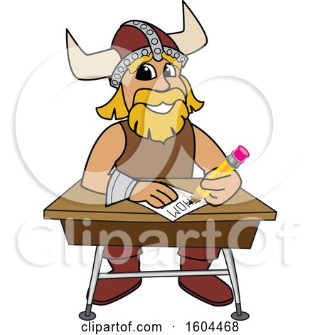 Clipart of a Male Viking School Mascot Character Writing at a Desk - Royalty Free Vector Illustration by Toons4Biz