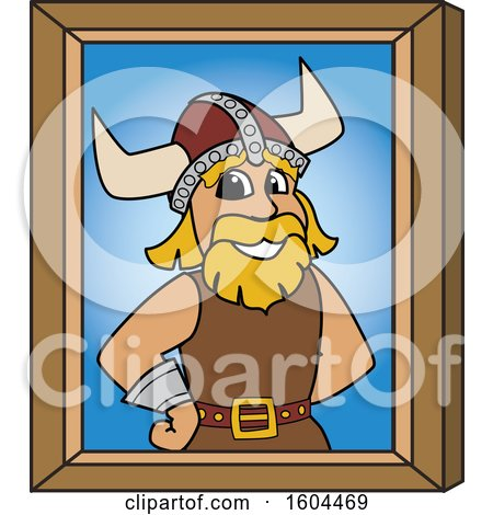 Clipart of a Male Viking School Mascot Character Portrait - Royalty Free Vector Illustration by Toons4Biz