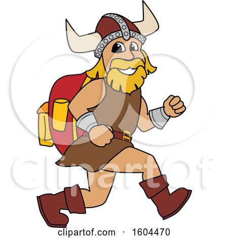 Clipart of a Male Viking School Mascot Character Running with a Backpack - Royalty Free Vector Illustration by Toons4Biz