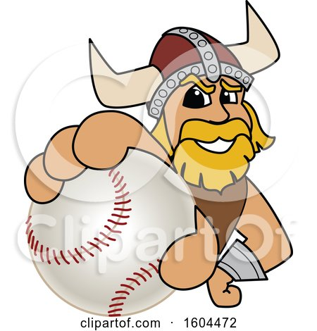 Clipart of a Male Viking School Mascot Character Grabbing a Baseball - Royalty Free Vector Illustration by Toons4Biz