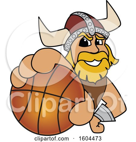 Clipart of a Male Viking School Mascot Character Grabbing a Basketball - Royalty Free Vector Illustration by Toons4Biz