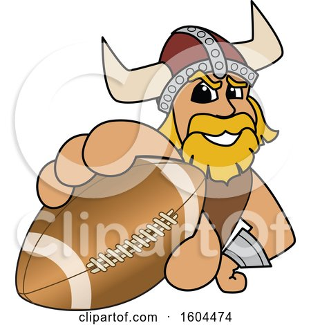 Clipart of a Male Viking School Mascot Character Grabbing an American Football - Royalty Free Vector Illustration by Toons4Biz