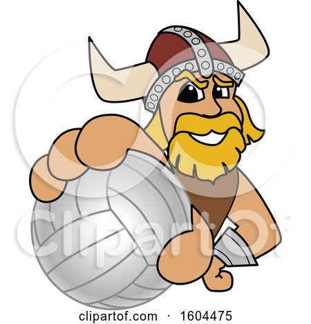 Clipart of a Male Viking School Mascot Character Grabbing a Volleyball - Royalty Free Vector Illustration by Toons4Biz