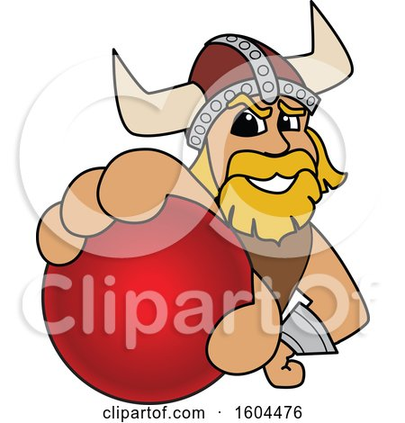 Clipart of a Male Viking School Mascot Character Grabbing a Cricket Ball - Royalty Free Vector Illustration by Toons4Biz