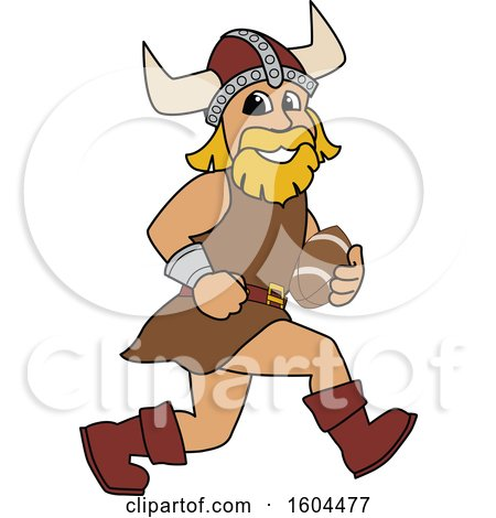 Clipart of a Male Viking School Mascot Character Running with a Football - Royalty Free Vector Illustration by Toons4Biz