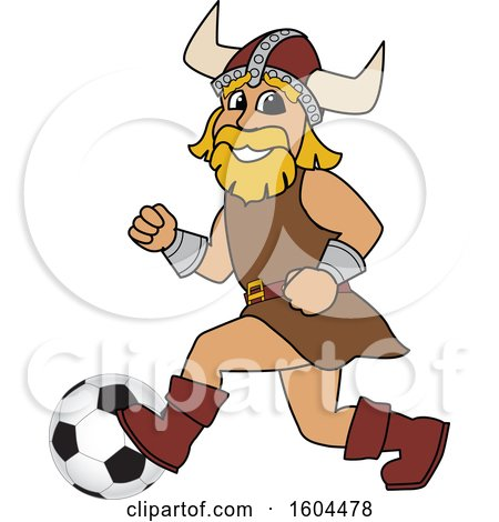 Clipart of a Male Viking School Mascot Character Playing Soccer - Royalty Free Vector Illustration by Toons4Biz