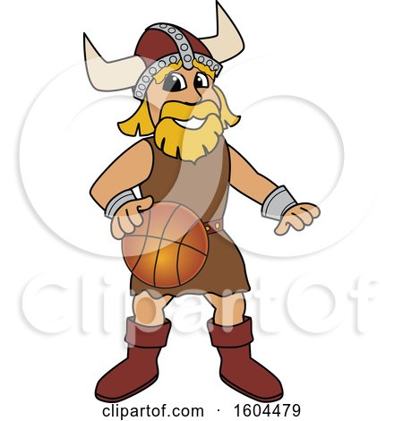 Clipart of a Male Viking School Mascot Character Dribbing a Basketball - Royalty Free Vector Illustration by Toons4Biz