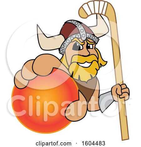 Clipart of a Male Viking School Mascot Character Holding a Hockey Ball and Stick - Royalty Free Vector Illustration by Toons4Biz