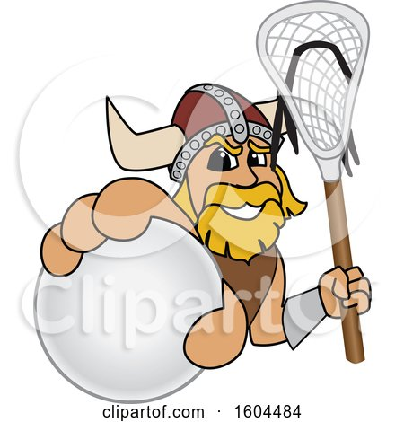 Clipart of a Male Viking School Mascot Character Holding a Lacrosse Ball and Stick - Royalty Free Vector Illustration by Toons4Biz
