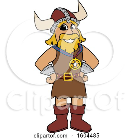 Clipart of a Male Viking School Mascot Character Wearing a Sports Medal - Royalty Free Vector Illustration by Toons4Biz