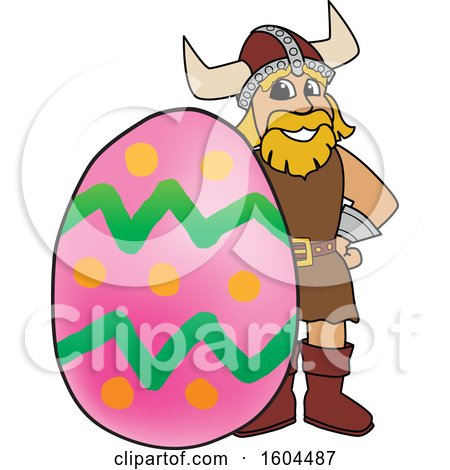 Clipart of a Male Viking School Mascot Character with an Easter Egg - Royalty Free Vector Illustration by Toons4Biz