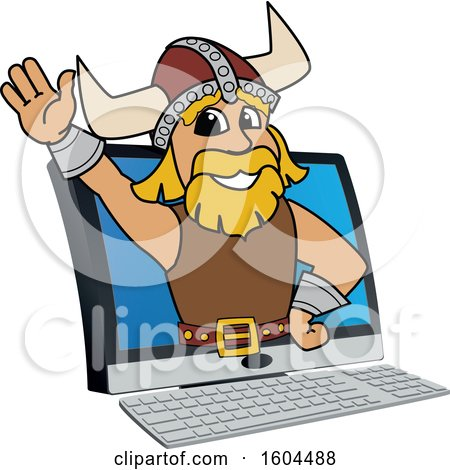 Clipart of a Male Viking School Mascot Character Emerging from a Computer Screen - Royalty Free Vector Illustration by Toons4Biz