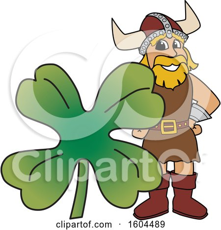 Clipart of a Male Viking School Mascot Character with a St Patricks Day Clover - Royalty Free Vector Illustration by Toons4Biz