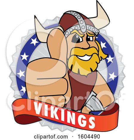 Clipart of a Male Viking School Mascot Character Giving a Thumb up on a Badge - Royalty Free Vector Illustration by Toons4Biz