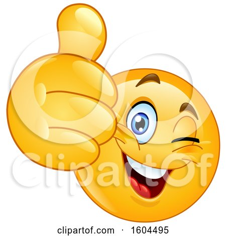 Clipart of a Cartoon Yellow Emoji Winking and Holding up a Thumb - Royalty Free Vector Illustration by yayayoyo